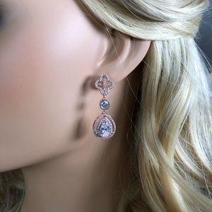 Bridal clover diamond crystal earrings